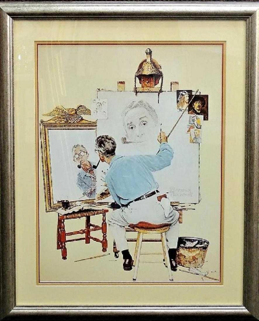 "NORMAN ROCKWELL PRINT ""TRIPLE SELF PORTRAIT"""