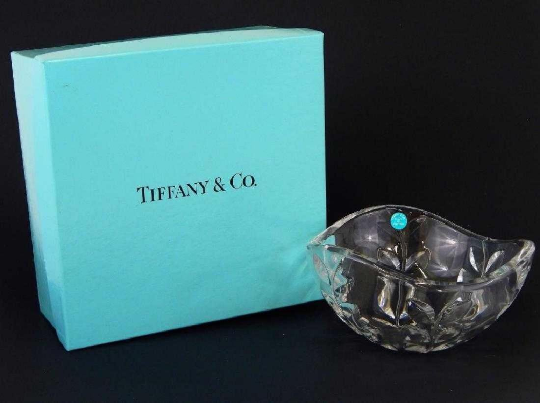 "TIFFANY & CO CRYSTAL ""FLORAL VINE"" ROUND BOWL"