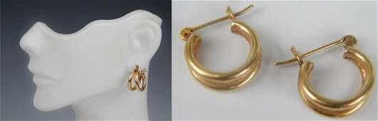 TIFFANY 14K YELLOW GOLD DOUBLE HOOP EARRINGS