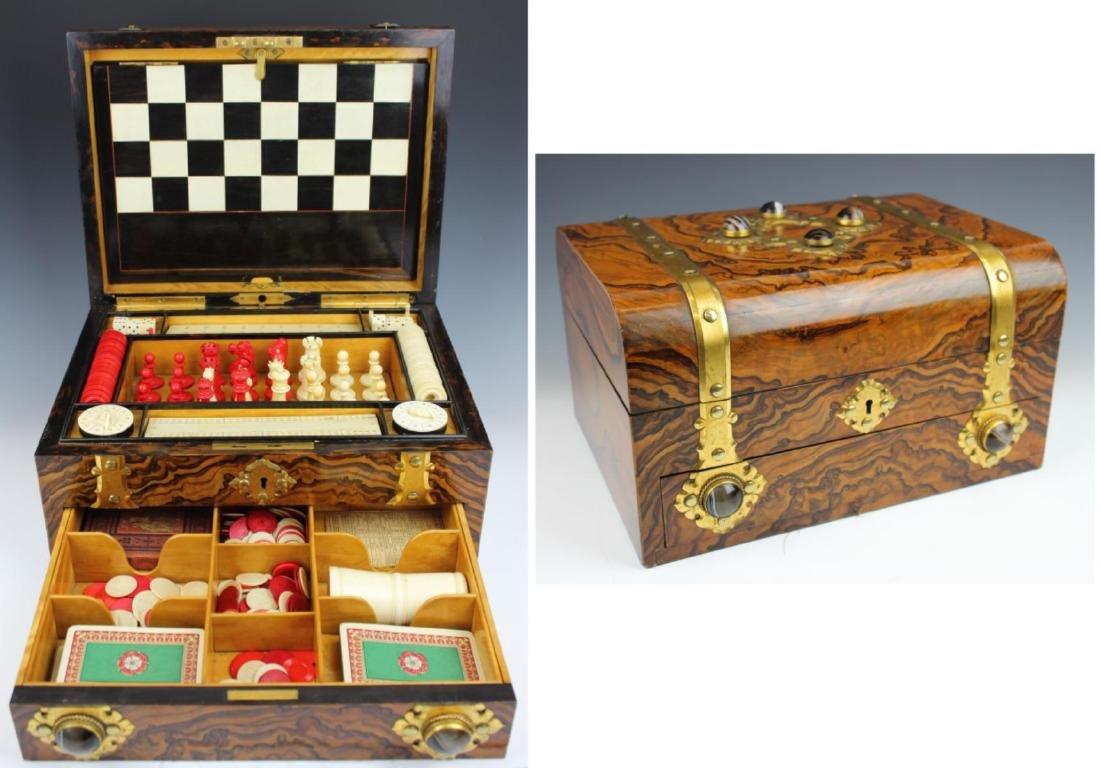 ANTIQUE ENGLISH MAPPIN & WEBB BURLWOOD GAME BOX