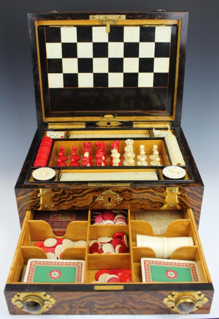 ANTIQUE ENGLISH MAPPIN & WEBB BURLWOOD GAME BOX - 2