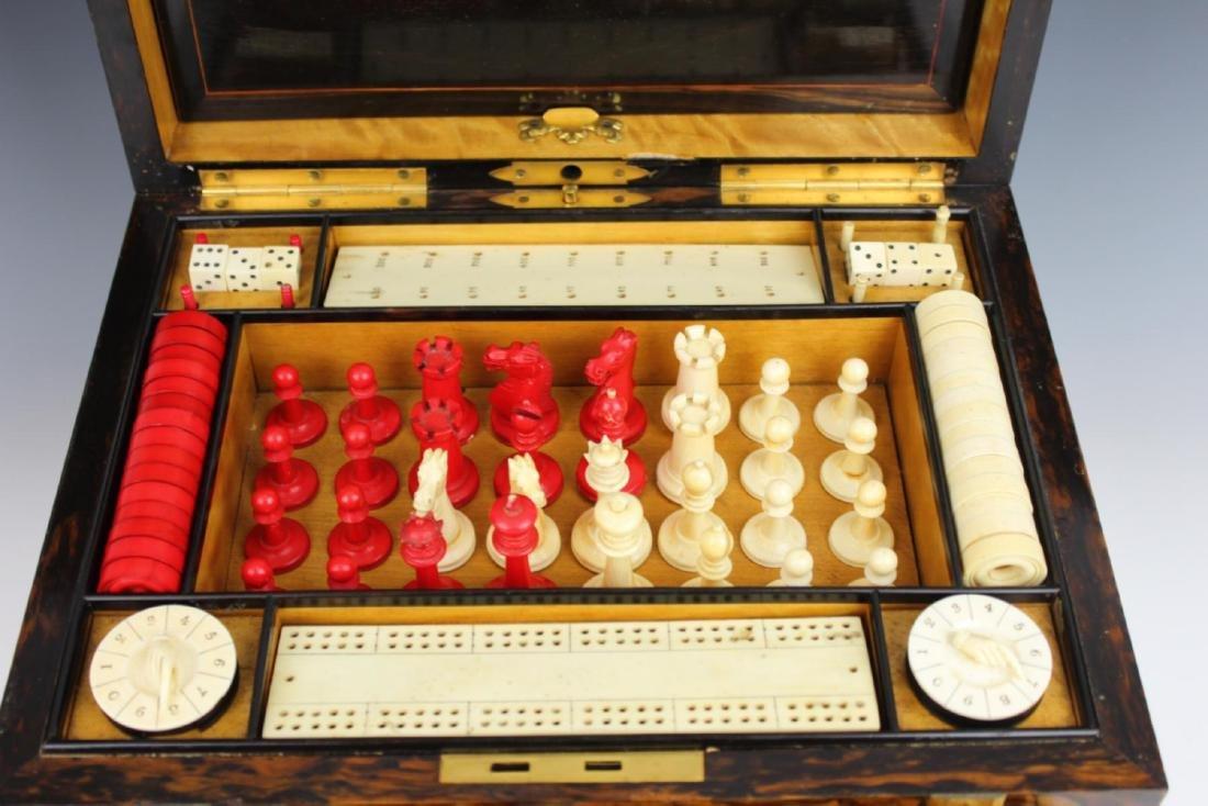 ANTIQUE ENGLISH MAPPIN & WEBB BURLWOOD GAME BOX - 3