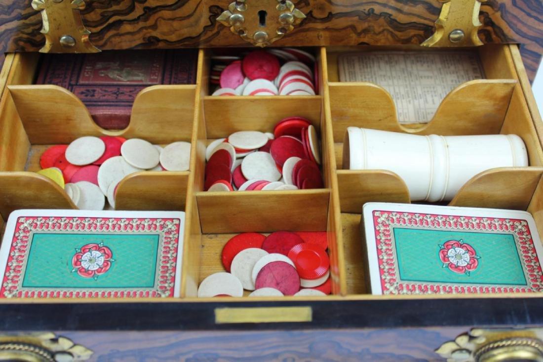 ANTIQUE ENGLISH MAPPIN & WEBB BURLWOOD GAME BOX - 4