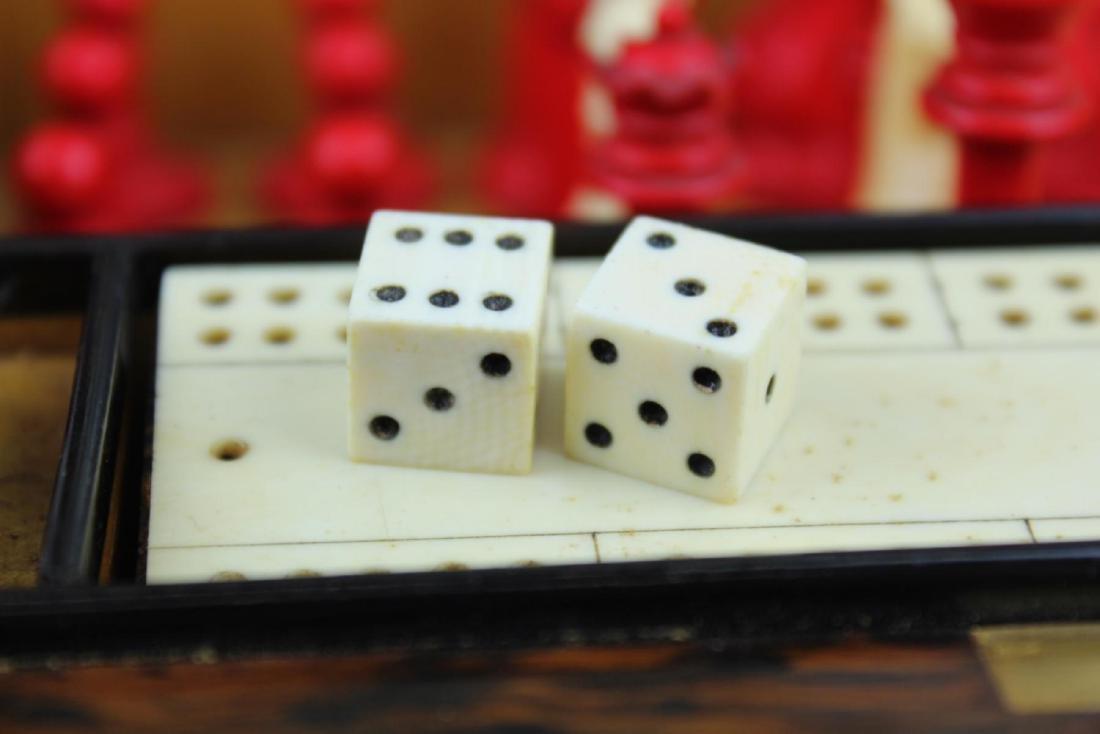 ANTIQUE ENGLISH MAPPIN & WEBB BURLWOOD GAME BOX - 5
