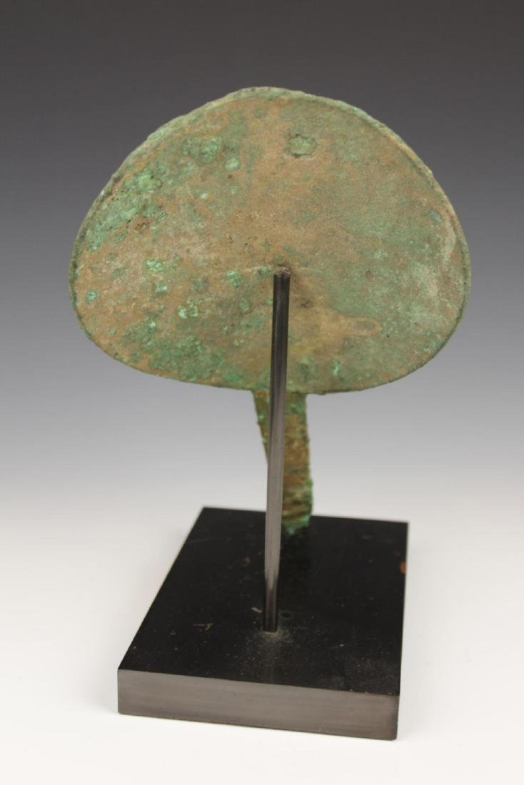 ANTIQUE AFGHANISTAN BRONZE HAND FAN w STAND - 3