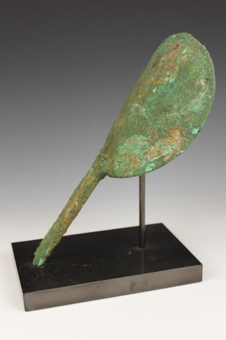 ANTIQUE AFGHANISTAN BRONZE HAND FAN w STAND - 4