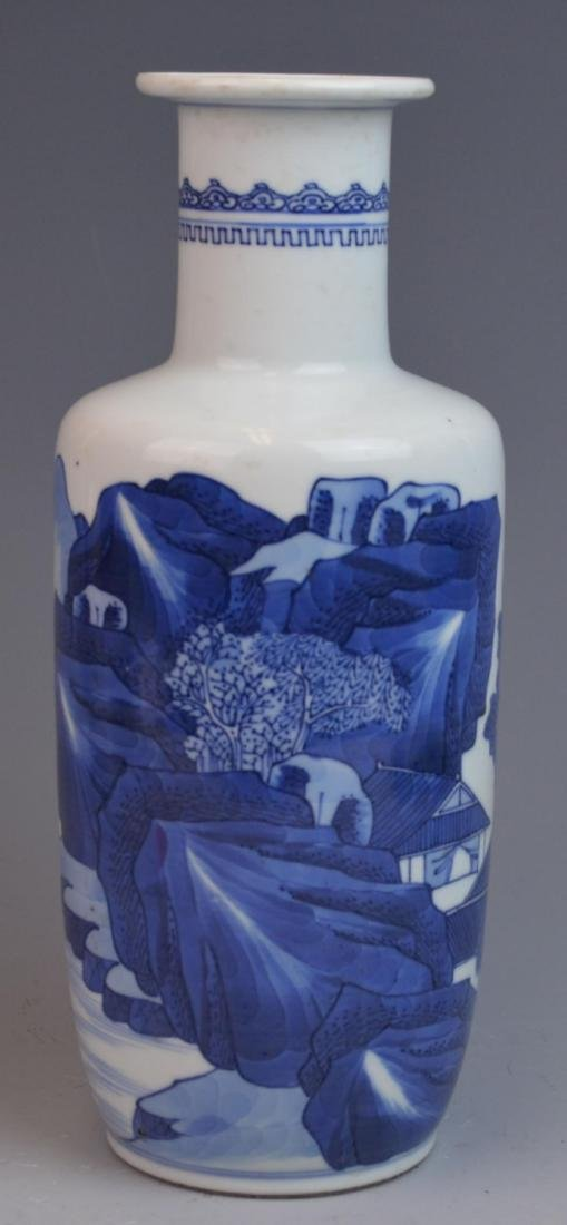 ANTIQUE CHINESE HAND PAINTED BLUE & WHITE VASE