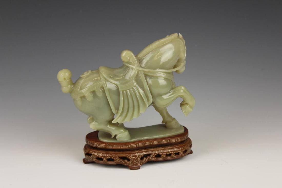 CHINESE CELADON JADE CARVED HORSE SCULPTURE - 3