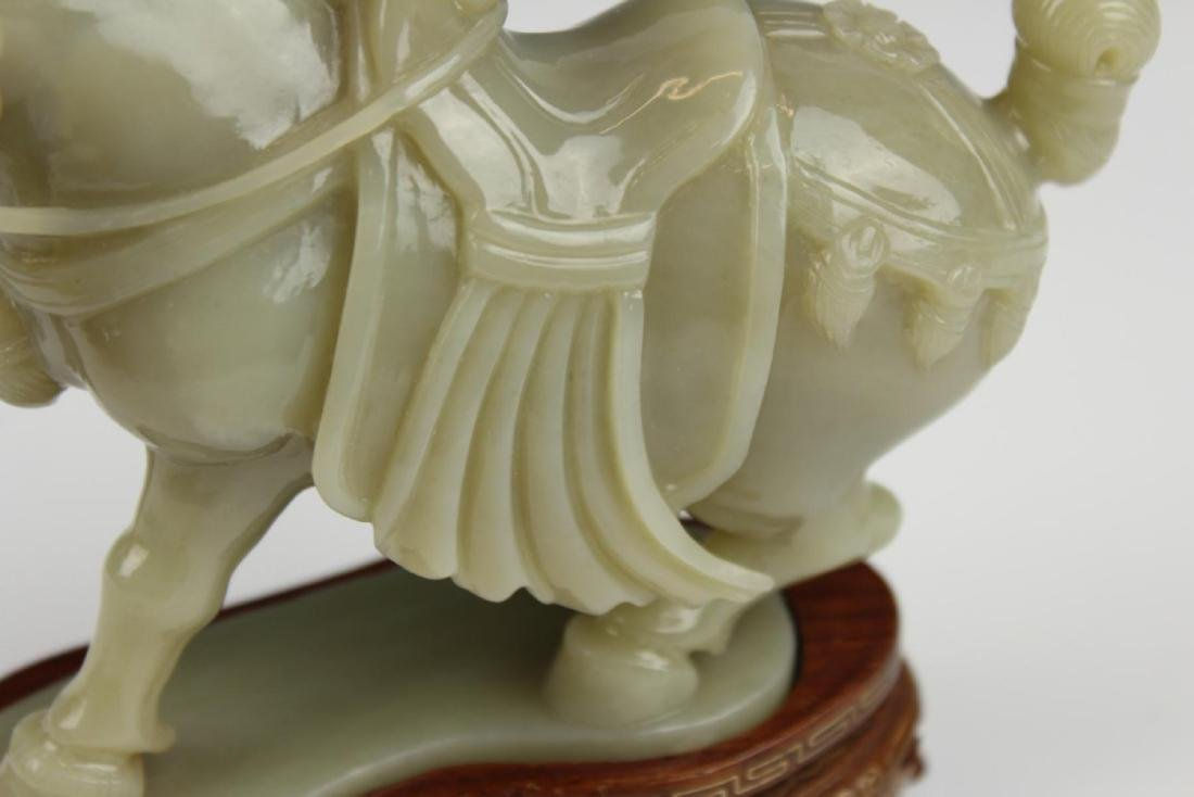 CHINESE CELADON JADE CARVED HORSE SCULPTURE - 6