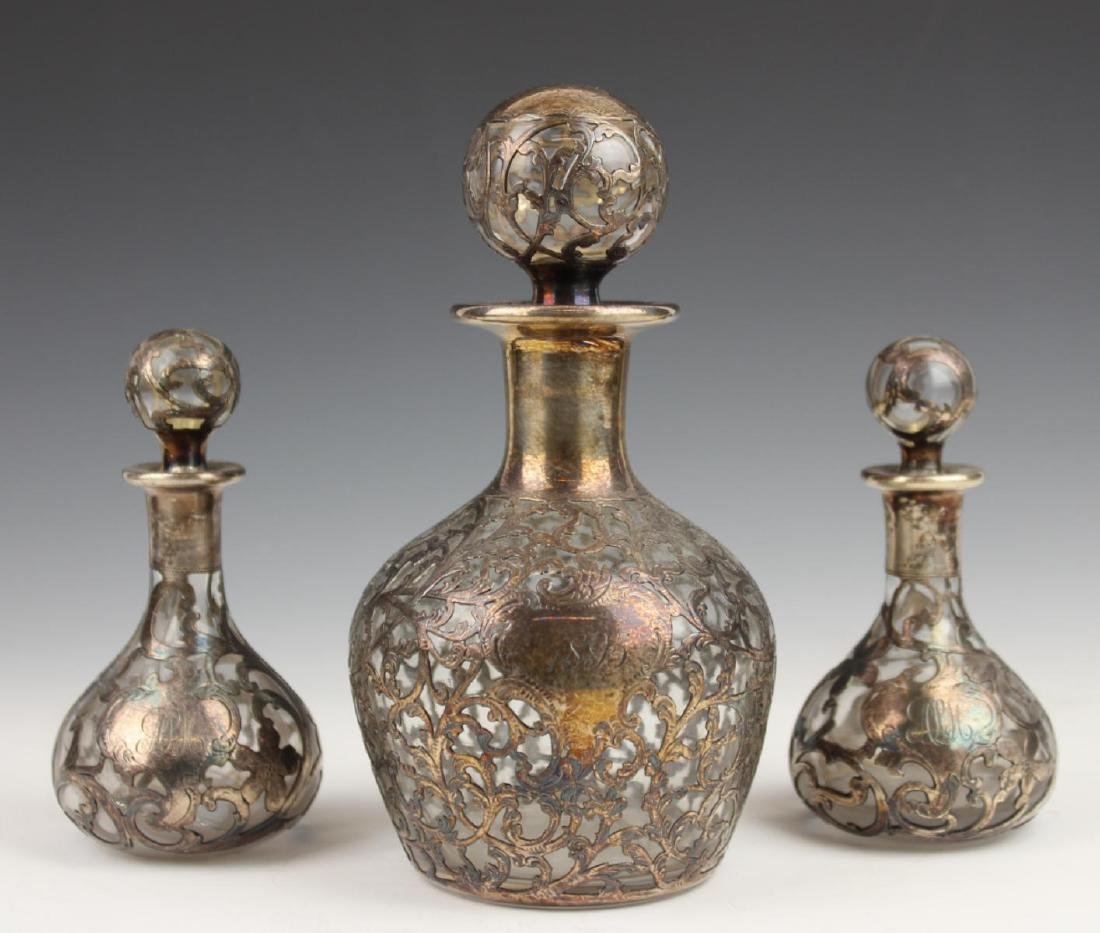 3 ANTIQUE STERLING SILVER OVERLAY GLASS DECANTERS