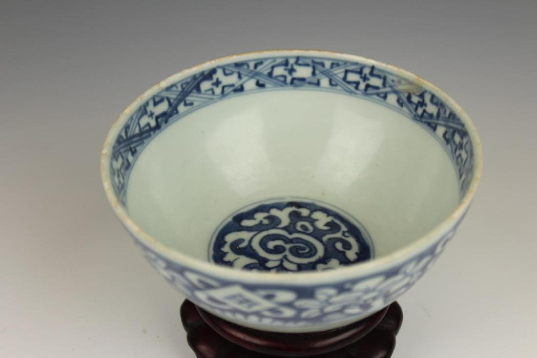 CHINESE MING PERIOD BLUE & WHITE PORCELAIN BOWL - 2