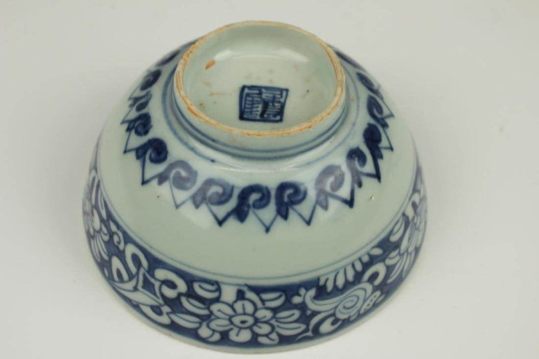 CHINESE MING PERIOD BLUE & WHITE PORCELAIN BOWL - 6