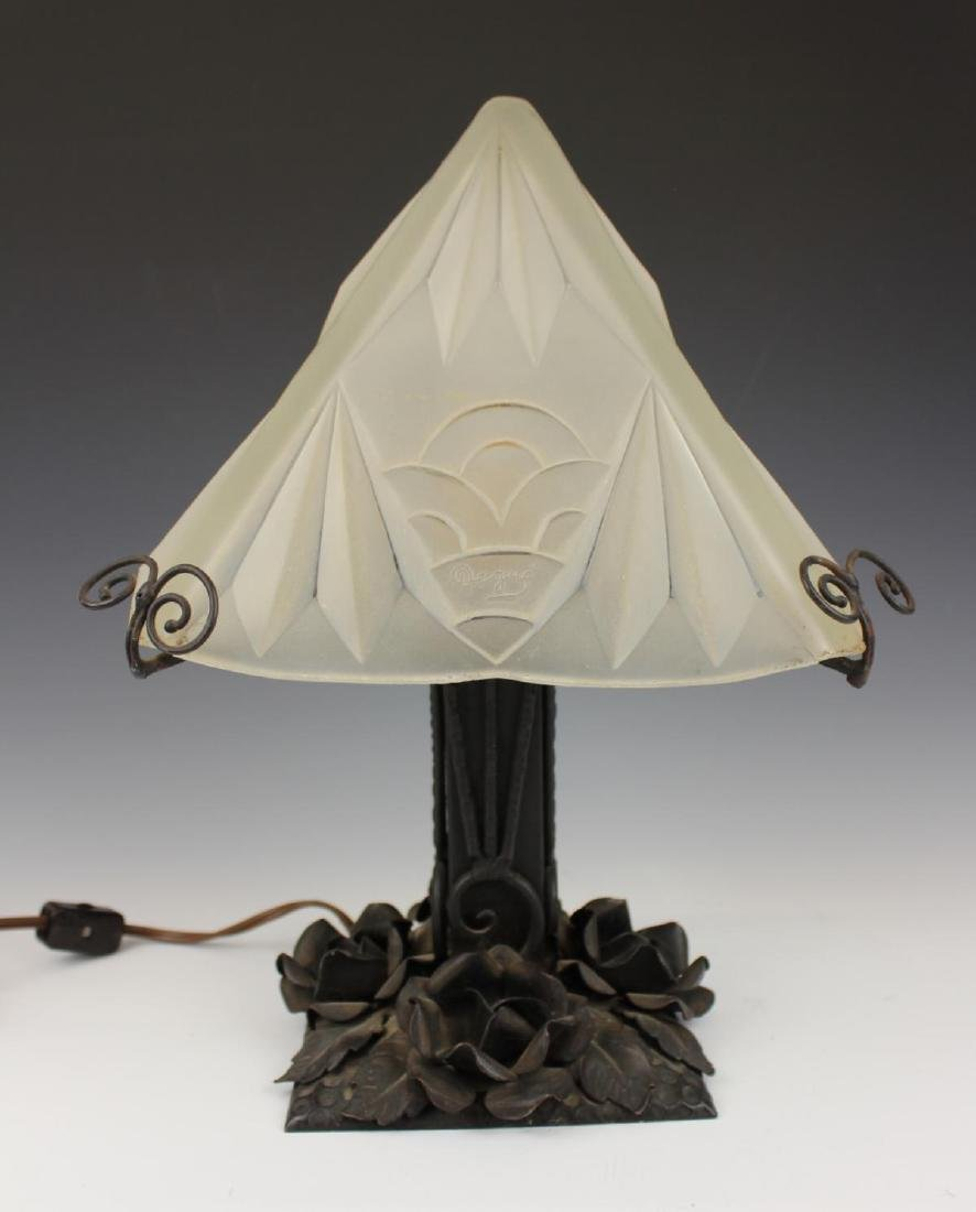 ART DECO FRENCH DEGUY FROSTED GLASS LAMP