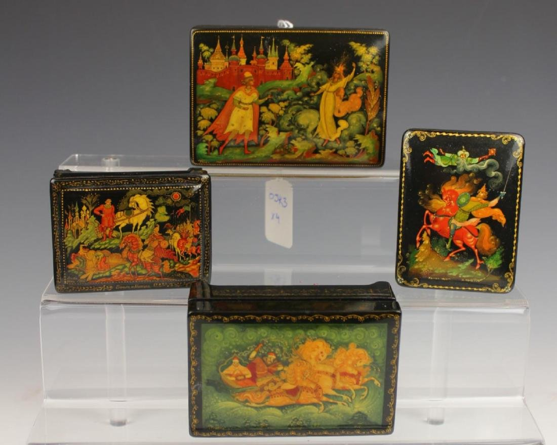LOT OF 4 VINTAGE RUSSIAN FAIRY TALE LACQUER BOXES