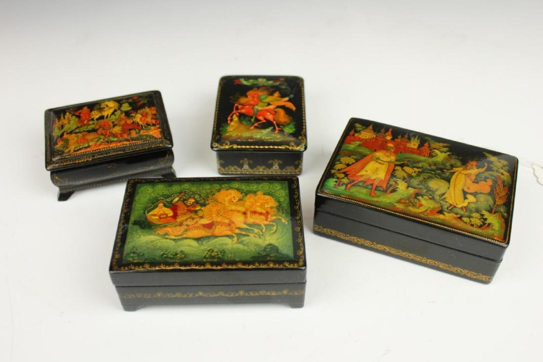 LOT OF 4 VINTAGE RUSSIAN FAIRY TALE LACQUER BOXES - 2