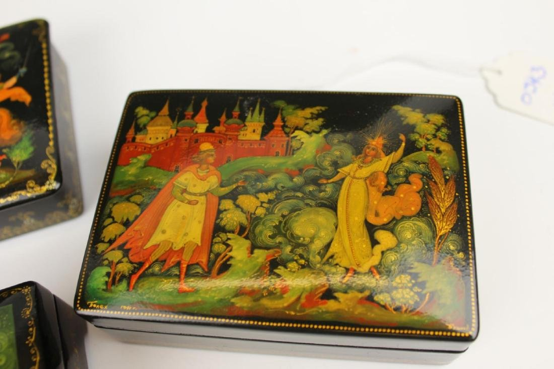 LOT OF 4 VINTAGE RUSSIAN FAIRY TALE LACQUER BOXES - 3