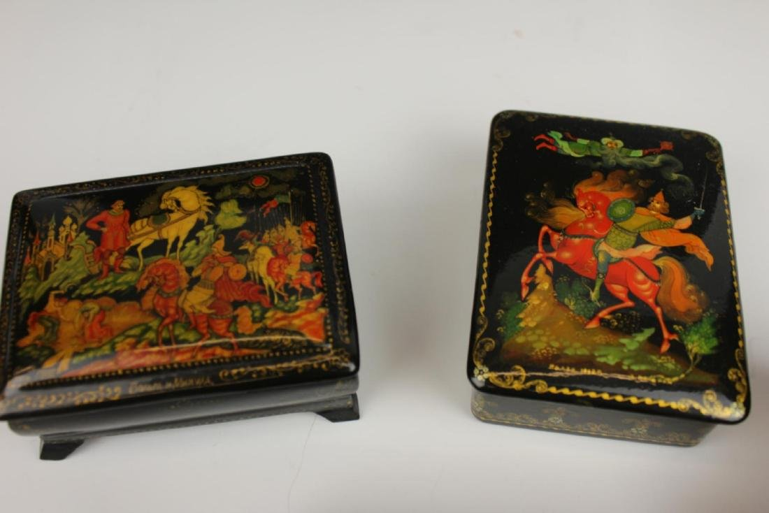 LOT OF 4 VINTAGE RUSSIAN FAIRY TALE LACQUER BOXES - 4