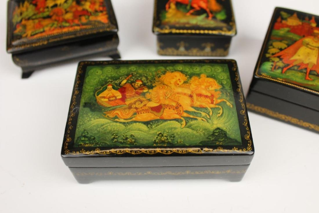 LOT OF 4 VINTAGE RUSSIAN FAIRY TALE LACQUER BOXES - 5