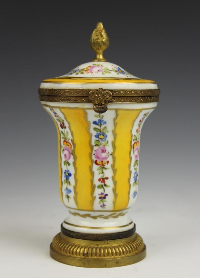 ANTIQUE LIMOGES FLORAL GILT METAL MOUNTED JAR