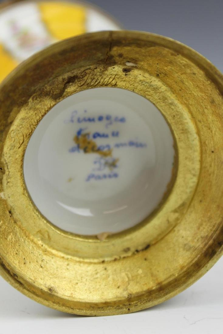 ANTIQUE LIMOGES FLORAL GILT METAL MOUNTED JAR - 4