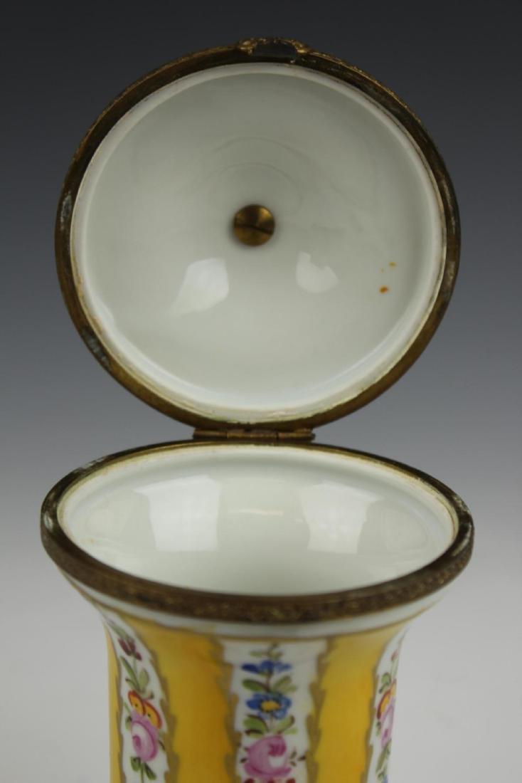 ANTIQUE LIMOGES FLORAL GILT METAL MOUNTED JAR - 7