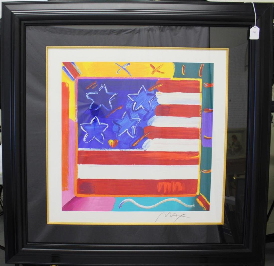 "PETER MAX ""FLAG WITH HEART"" SIGNED SERIGRAPH"