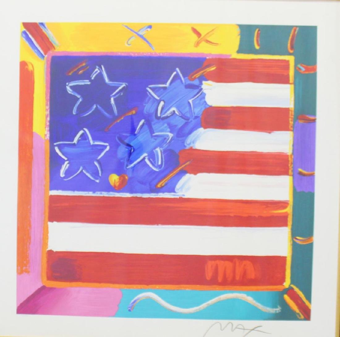 "PETER MAX ""FLAG WITH HEART"" SIGNED SERIGRAPH - 2"