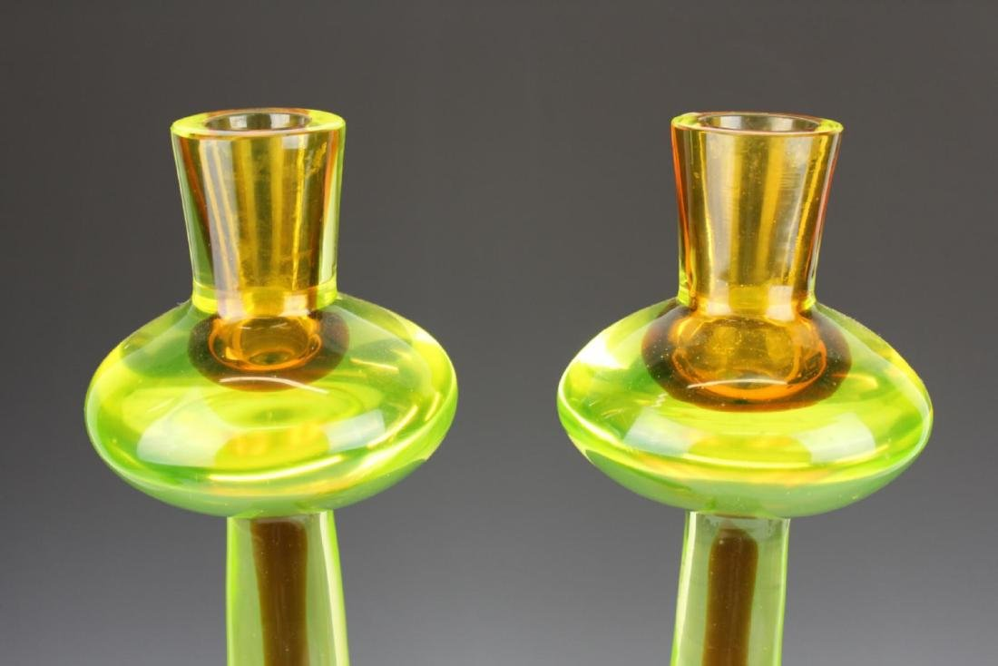 PAIR VERY LARGE MURANO VASELINE GLASS CANDLESTICKS - 2