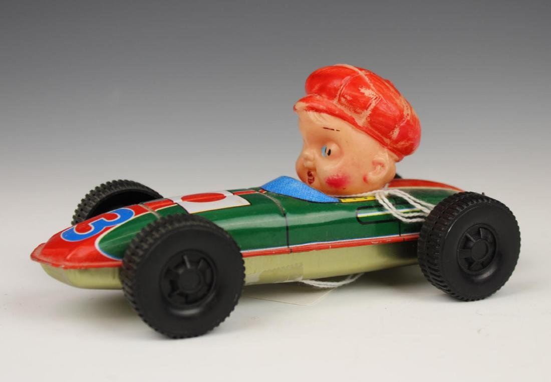 VINTAGE TIN RACE CAR DRIVER TOY