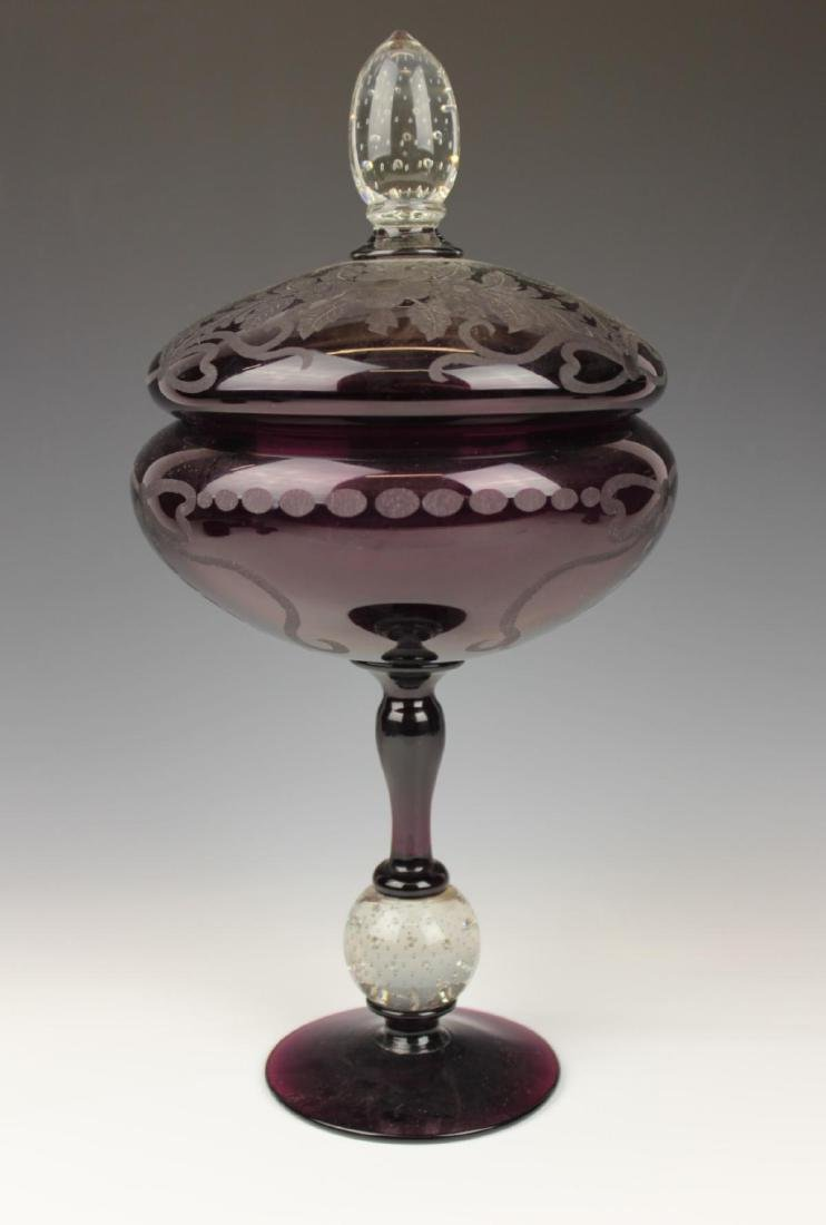 ANTIQUE ETCHED AMETHYST LIDDED GLASS COMPOTE