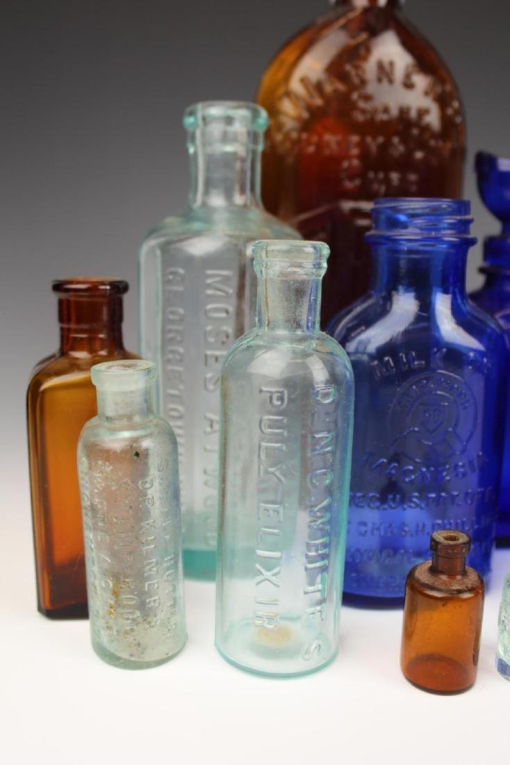 22 ANTIQUE GLASS MEDICINE BOTTLES - 2