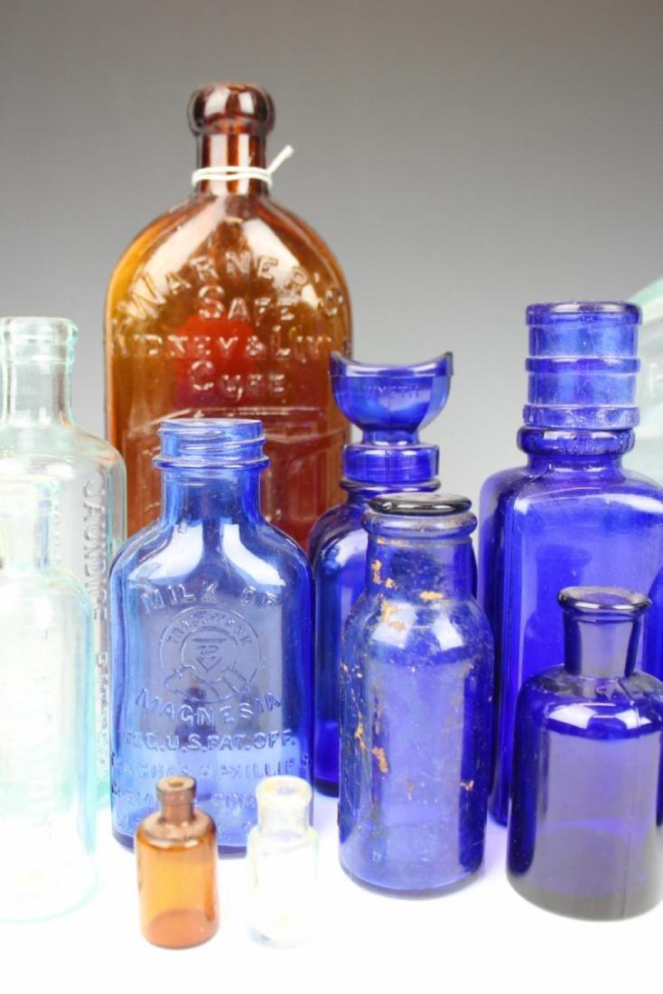 22 ANTIQUE GLASS MEDICINE BOTTLES - 3