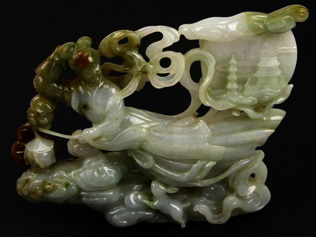 CHINESE WHITE JADEITE FLYING QUAN YIN CARVING