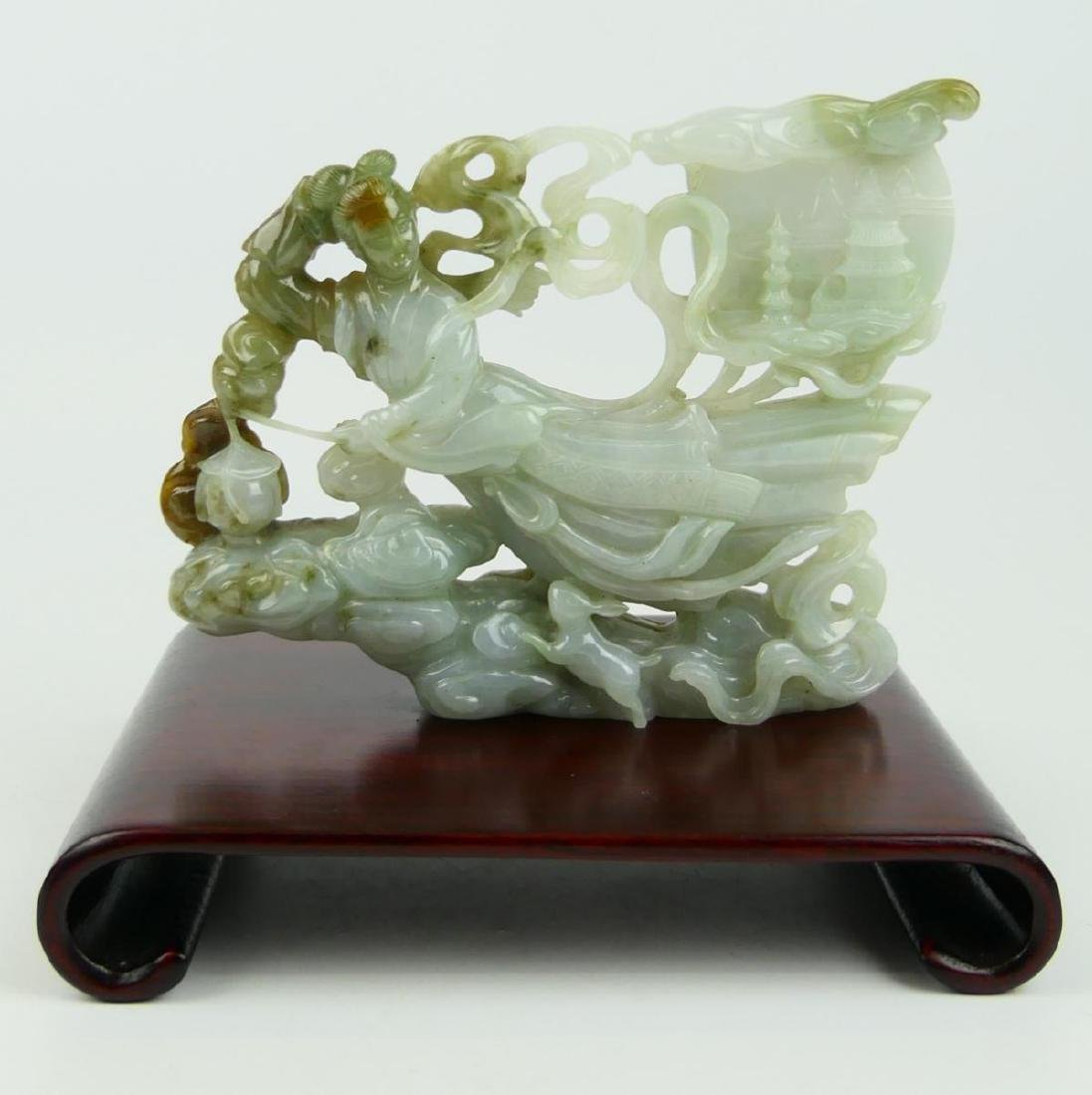 CHINESE WHITE JADEITE FLYING QUAN YIN CARVING - 2