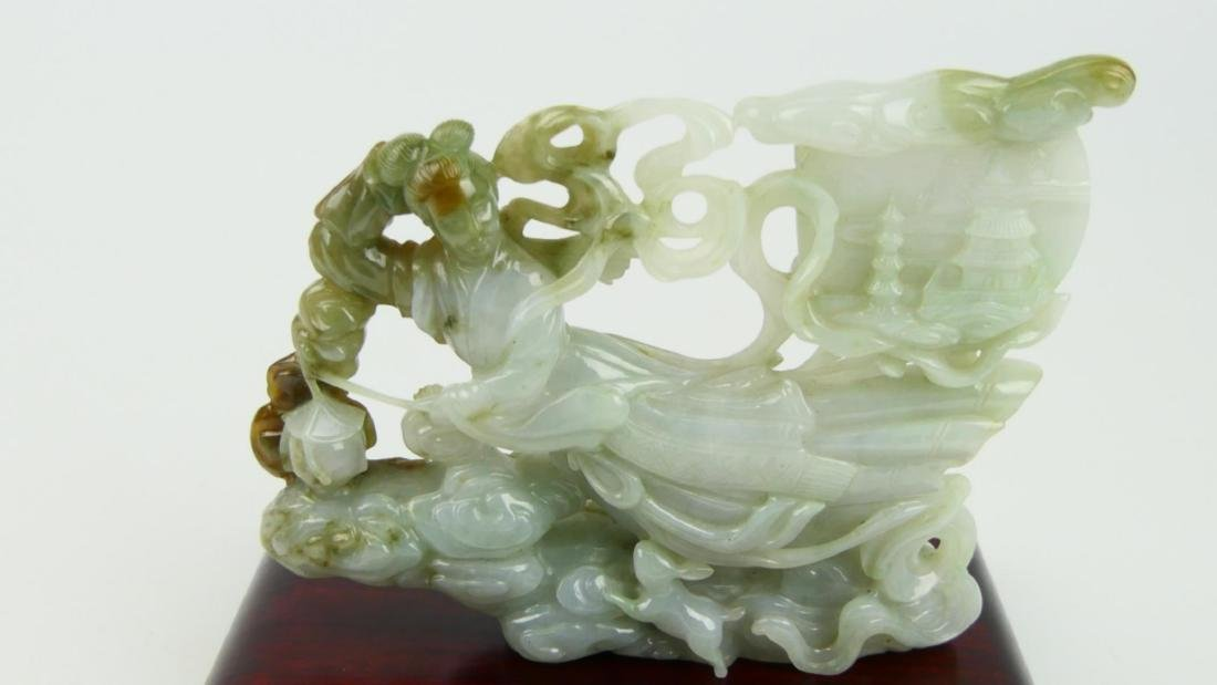 CHINESE WHITE JADEITE FLYING QUAN YIN CARVING - 3