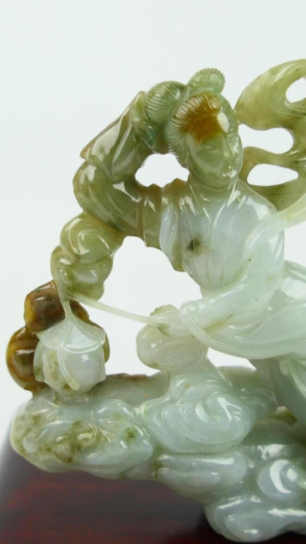 CHINESE WHITE JADEITE FLYING QUAN YIN CARVING - 4