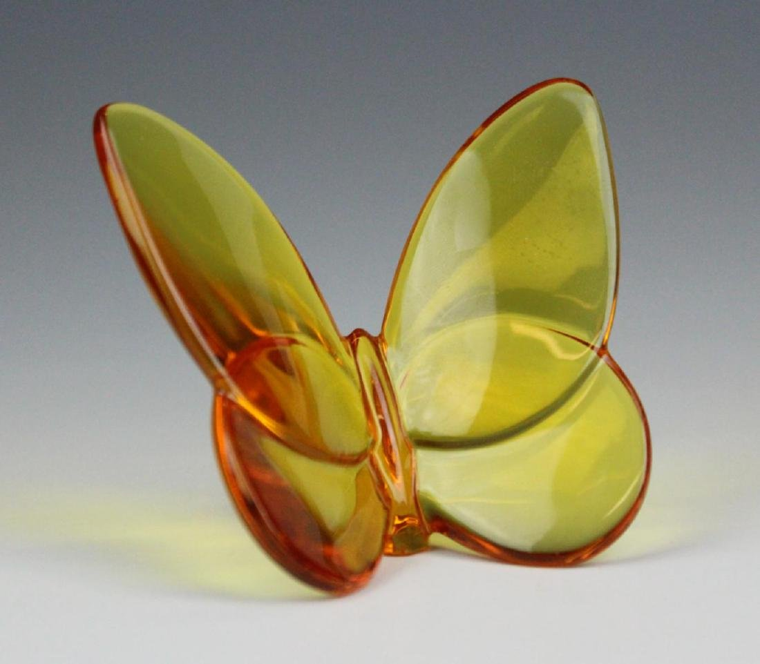BACCARAT  AMBER CRYSTAL BUTTERFLY PAPERWEIGHT