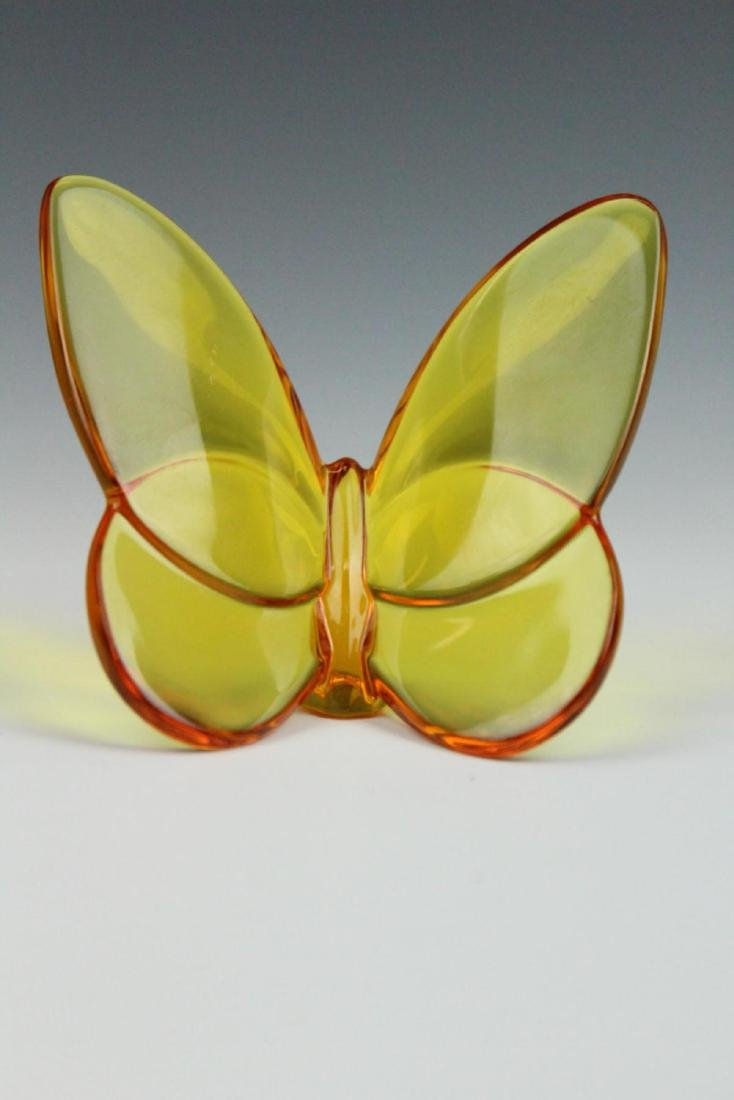 BACCARAT  AMBER CRYSTAL BUTTERFLY PAPERWEIGHT - 4
