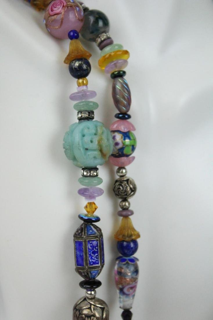 HEAVY STERLING ETHNIC NECKLACE WITH PRECIOUS STONE - 3