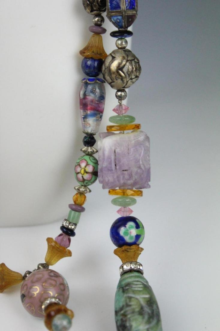 HEAVY STERLING ETHNIC NECKLACE WITH PRECIOUS STONE - 4