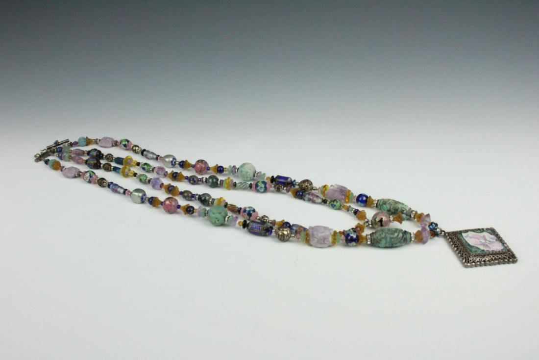 HEAVY STERLING ETHNIC NECKLACE WITH PRECIOUS STONE - 6