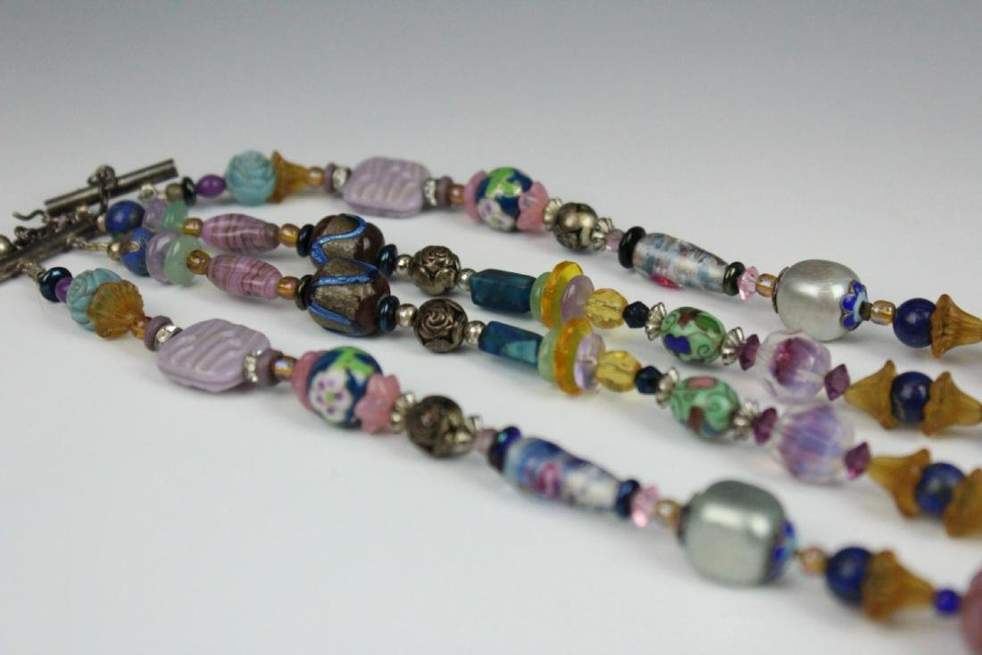 HEAVY STERLING ETHNIC NECKLACE WITH PRECIOUS STONE - 7