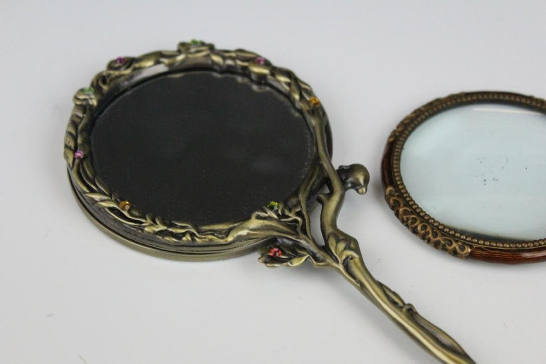 LOT OF 3 SMALL ENAMEL DECORATED HAND MIRRORS - 2
