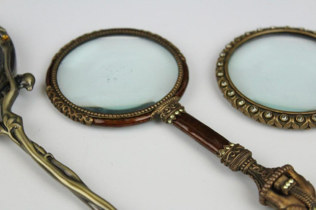 LOT OF 3 SMALL ENAMEL DECORATED HAND MIRRORS - 3
