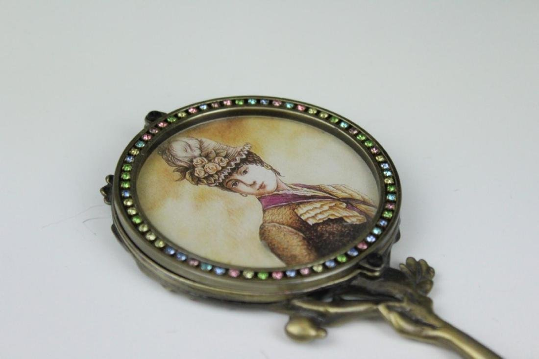 LOT OF 3 SMALL ENAMEL DECORATED HAND MIRRORS - 7