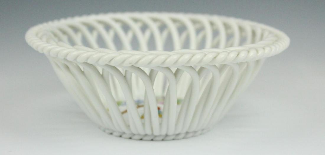 HEREND HAND PAINTED RETICULATED PORCELAIN BOWL
