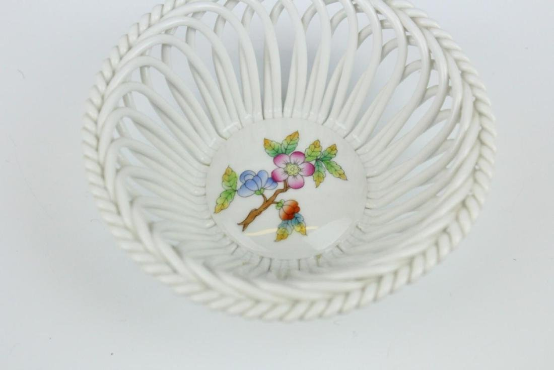 HEREND HAND PAINTED RETICULATED PORCELAIN BOWL - 2