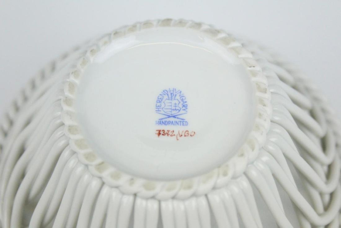 HEREND HAND PAINTED RETICULATED PORCELAIN BOWL - 4