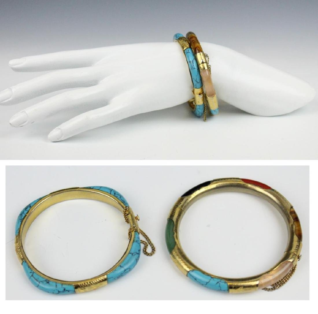 PAIR OF VINTAGE ASIAN BRACELETS WITH TURQUOISE