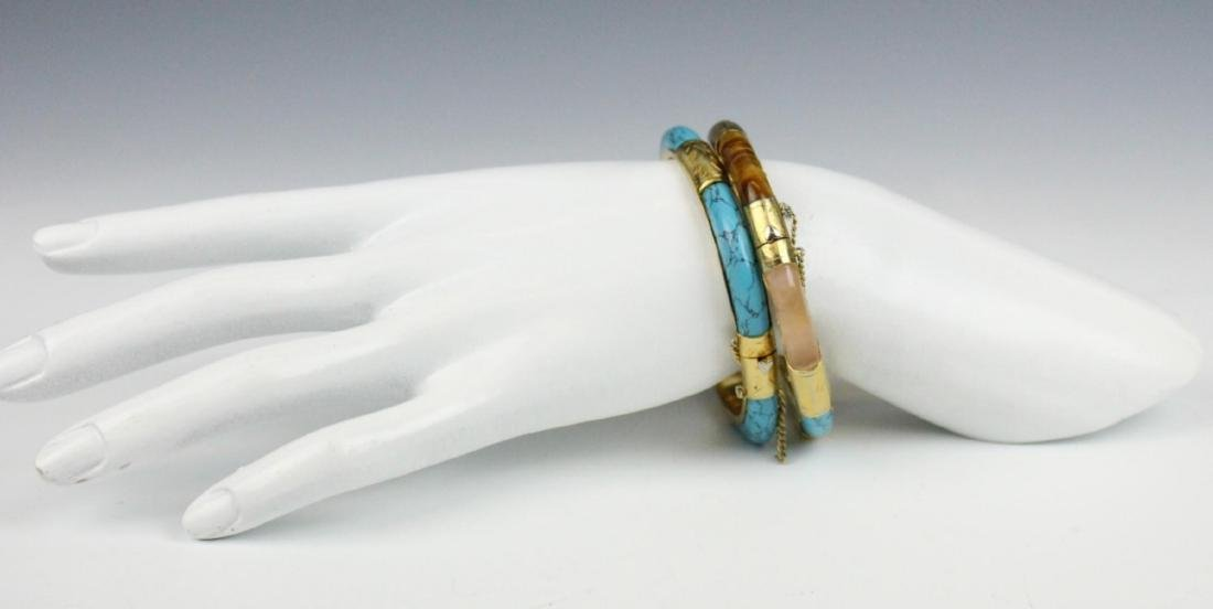 PAIR OF VINTAGE ASIAN BRACELETS WITH TURQUOISE - 2